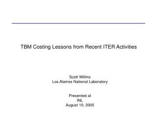 TBM Costing Lessons from Recent ITER Activities