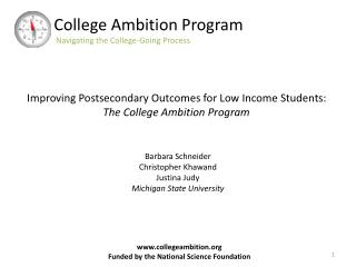 College Ambition Program Navigating the College-Going Process