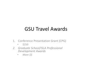 GSU Travel Awards