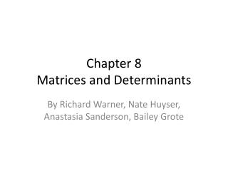 Chapter  8 Matrices and Determinants