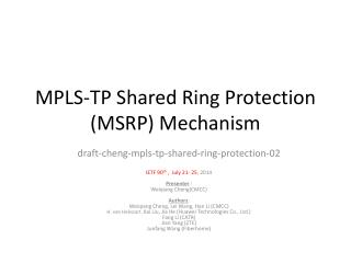 MPLS-TP Shared Ring Protection (MSRP) Mechanism