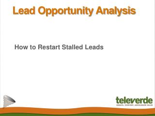 Lead Opportunity Analysis - How to Restart Stalled Leads