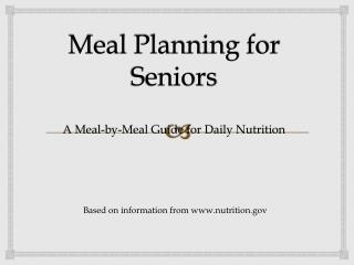 Meal Planning for Seniors