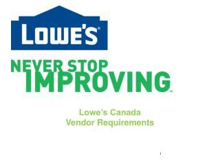 Lowe's Canada Vendor Requirements