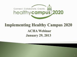 Implementing Healthy Campus 2020 ACHA Webinar January 29, 2013