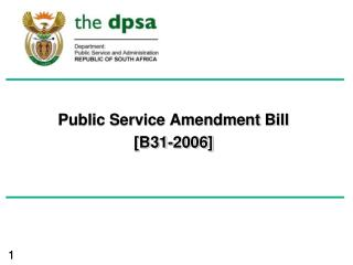 Public Service Amendment Bill [B31-2006]