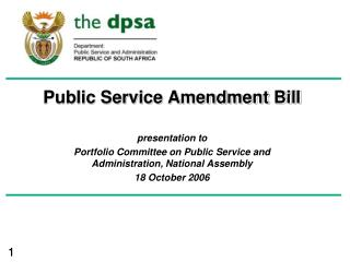 Public Service Amendment Bill presentation to