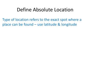 Define Absolute Location