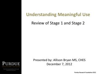 Understanding Meaningful Use