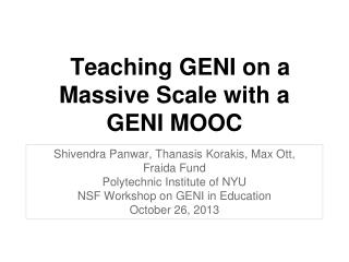 Teaching GENI on a Massive Scale with a GENI MOOC