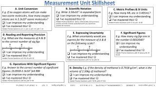 Measurement Unit  Skillsheet