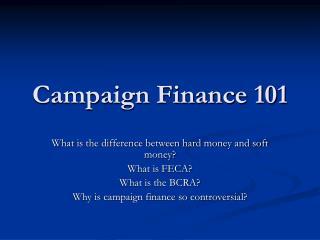 Campaign Finance 101