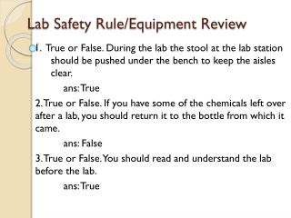 Lab Safety Rule/Equipment Review