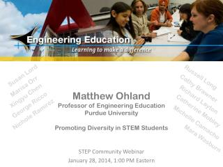 STEP Community Webinar January 28, 2014, 1:00 PM Eastern