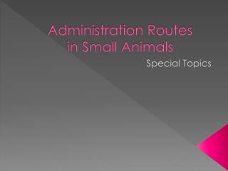 Administration Routes  in  Small Animals