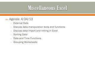 Miscellaneous Excel