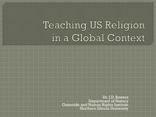 Teaching US Religion  in a Global Context