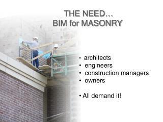 THE NEED…  BIM for MASONRY