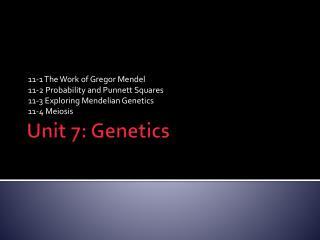 Unit 7: Genetics