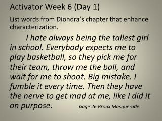 Activator Week 6 (Day 1)
