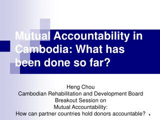 Mutual Accountability in Cambodia: What has been done so far?