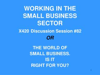 WORKING IN THE SMALL BUSINESS SECTOR X420 Discussion Session #82