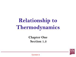 Relationship to Thermodynamics