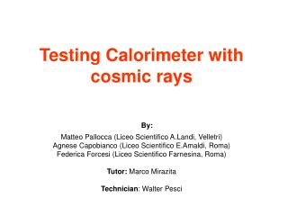Stage objectives Testing a lead/scintillator sampling calorimeter using cosmic muons.