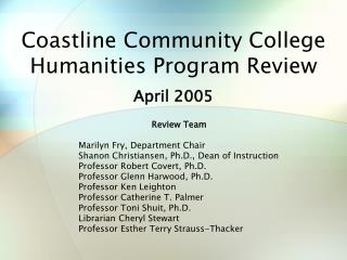 Coastline Community College Humanities Program Review
