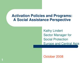 Activation Policies and Programs: A Social Assistance Perspective