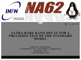 ultra-rare  kaon  decay  For  a precision test of the standard model Kristin  Schimert