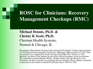 ROSC for Clinicians: Recovery Management Checkups RMC