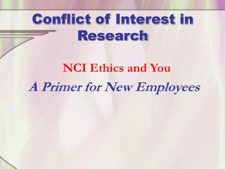 Conflict of Interest in Research
