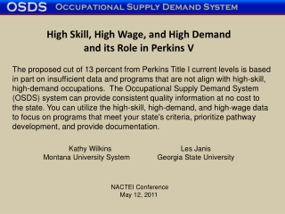 The Carl D. Perkins Act of 2006  An Overview for  Career and Technical Education