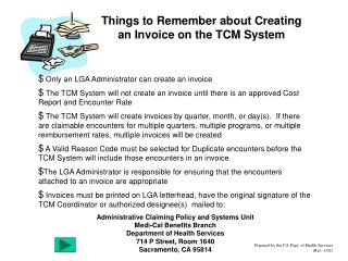 Things to Remember about Creating an Invoice on the TCM System