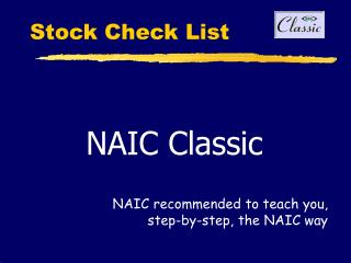 Stock Check List