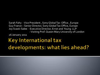 Key International tax developments: what lies ahead?