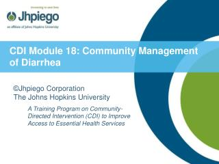 CDI Module 18: Community Management of Diarrhea