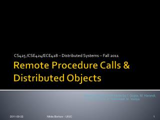 Remote Procedure Calls & Distributed Objects