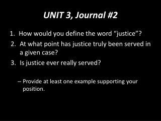 UNIT 3, Journal #2