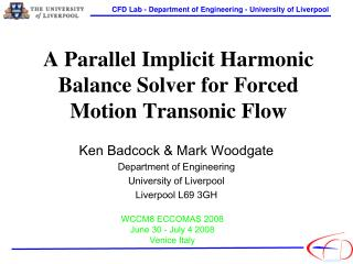 A Parallel Implicit Harmonic Balance Solver for Forced Motion Transonic Flow