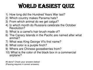 World Easiest Quiz