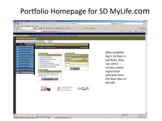Portfolio Homepage for SD MyLife
