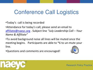 Conference Call Logistics