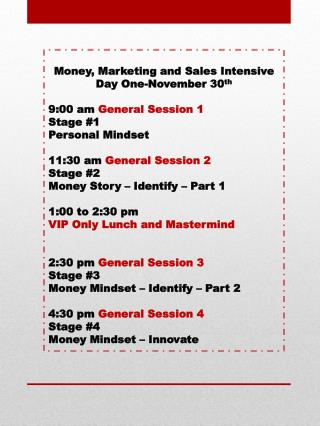 Money, Marketing and Sales Intensive Day One-November 30 th 9:00 am  General Session 1 Stage #1