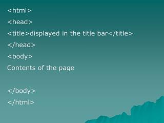 <html> <head> <title>displayed in the title bar</title> </head> <body> Contents of the page