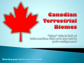Canadian Terrestrial Biomes