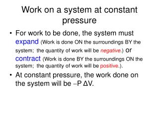 Work on a system at constant pressure