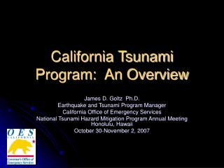 California Tsunami Program:  An Overview