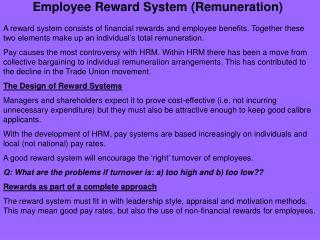 Employee Reward System (Remuneration)